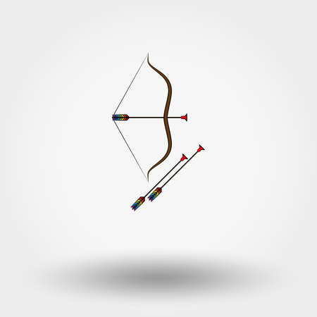 longshot: Bow and arrow toy icon for web and mobile application. Vector illustration on a white background. Cartoon, flat design style. Illustration
