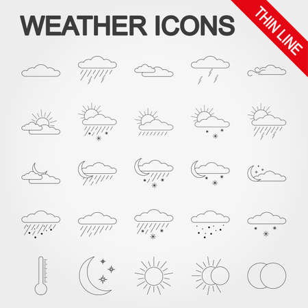 partly sunny: Weather thin line icon set for web and mobile application. Vector illustration on a white background.