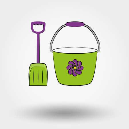 sandpit: Cubo y pala para las cajas de arena. Icono para web y aplicaciones m�viles. Ilustraci�n del vector en un fondo blanco. Historieta, estilo dise�o plano.