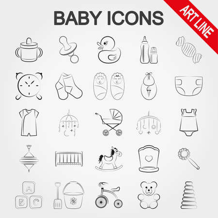 rompers: Baby thin line icons set for web and mobile application. Vector illustration on a white background.