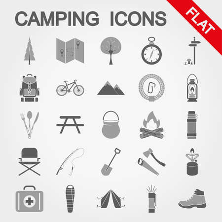Camping, trevel and tourism icon set for web and mobile application. Vector illustration on a white background. Flat design style.