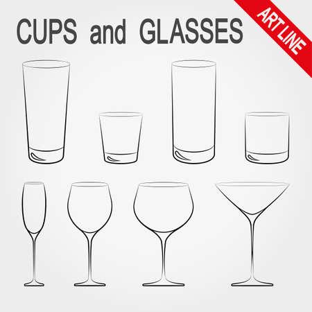 Tassen und Gläser. Icons für Web-und Mobile-Anwendung festgelegt. Vektor-Illustration auf einem weißen Hintergrund. Standard-Bild - 44622274