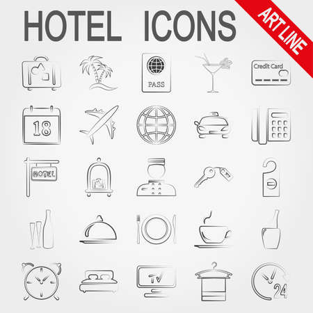 hotel service: Hotel Service.  Icons set for web and mobile application. Vector illustration on a white background. Illustration