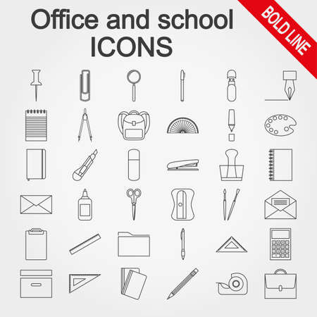 tape marker: Office and school supplies.  Icons set for web and mobile application. Vector illustration on a white background.