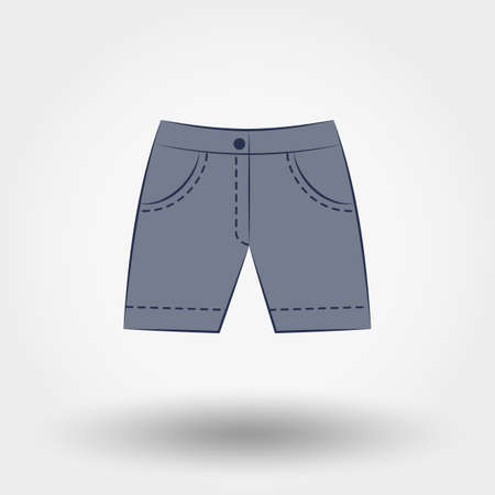 back belt: Denim shorts.  Icon for web and mobile application. Vector illustration on a white background.