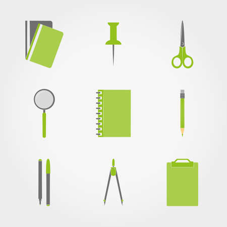 chancellery: Chancellory. Office supplies. Icons set for web and mobile application. Vector illustration on a white background. Illustration