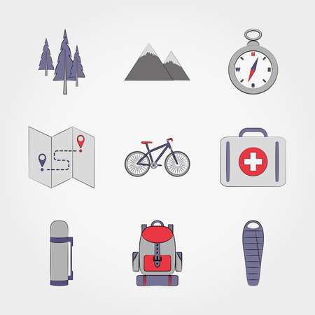 sleeping bag: Camping. Icons set for web and mobile application. Vector illustration on a white background. Illustration