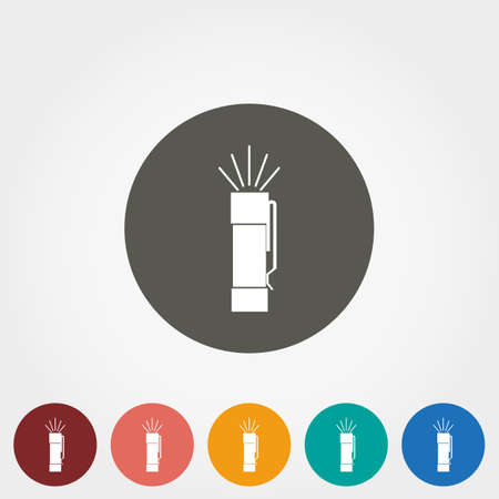 lite: Flashlight. Icon for web and mobile application. Vector illustration on a button. Flat design style.