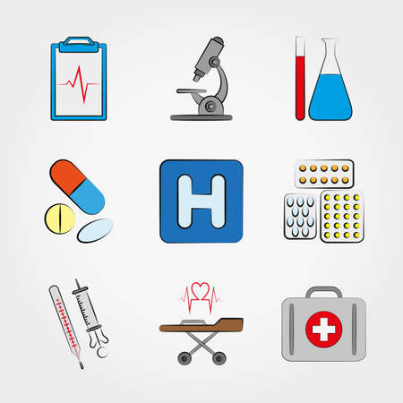 med: Medical icons set for web and mobile application. Vector illustration on a white background.