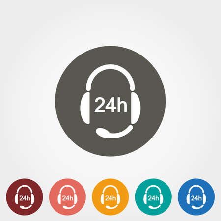 Support 24 hours. Headphones with Microphone. Icon for web and mobile application. Vector illustration on a button. Flat design style. Illustration