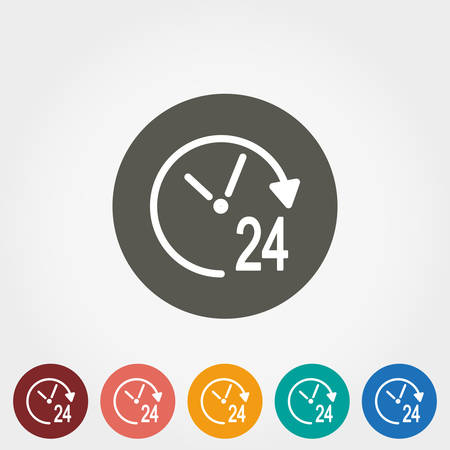 tech support: Support 24 hours. Icon for web and mobile application. Vector illustration on a button. Flat design style.