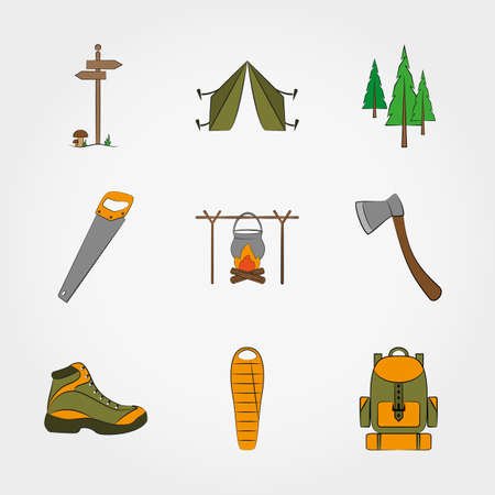 sleeping bag: Camping equipment symbols and icons set for web and mobile application.