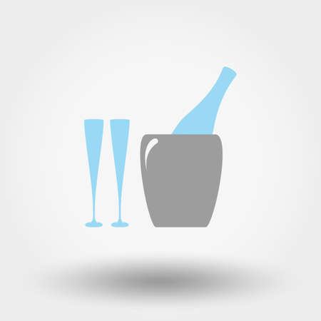 fizz: Bottle in ice bucket and glasses. Icon for web and mobile application. Vector illustration on a white background.