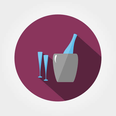 uncork: Bottle in ice bucket and glasses. Icon for web and mobile application. Vector illustration of a button with a long shadow. Flat design style. Illustration