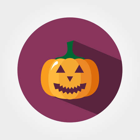 calabaza caricatura: Calabaza de Halloween. Icono para web y aplicaciones móviles. Ilustración vectorial de un botón con una larga sombra. Estilo de diseño plano. Vectores