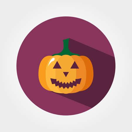 dynia: Halloween dynia. Ikona internetowych i aplikacji mobilnych. Ilustracja wektorowa przycisku z długim cieniem. Płaski design w stylu.
