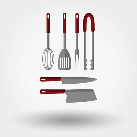 herramientas de cocina: Kitchen tools. Icon for web and mobile application. Vector illustration on a white background. Flat design style. Vectores