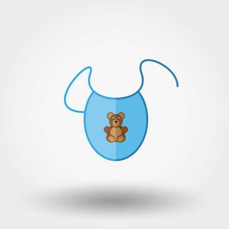 recien nacido: Babero. ropa de recién nacido. Icono para web y aplicaciones móviles. Ilustración del vector en un fondo blanco. estilo de diseño plano. Vectores