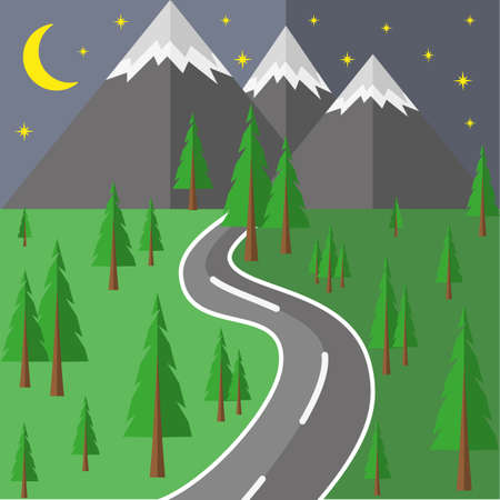 Road to the mountains through the woods. Illustration
