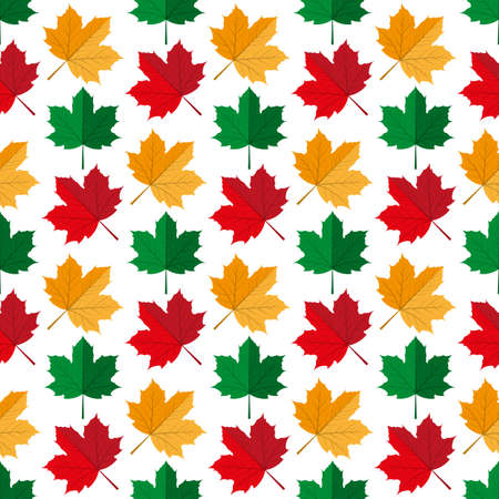 Autumn maple leafs. Seamless pattern. Vector illustration on a white  background. Swatch inside.