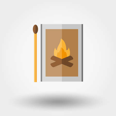 open flame: Match box. Icon for web and mobile application. Vector illustration on a white background. Flat design style. Illustration