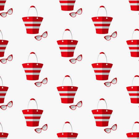 beach bag: Beach bag and glasses. Seamless pattern. Vector illustration on a white background. Swatch inside.