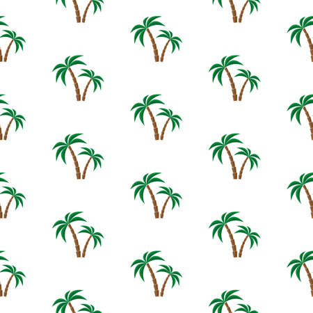palmtree: Palm trees. Seamless pattern. Vector illustration on a white background. Swatch inside. Illustration