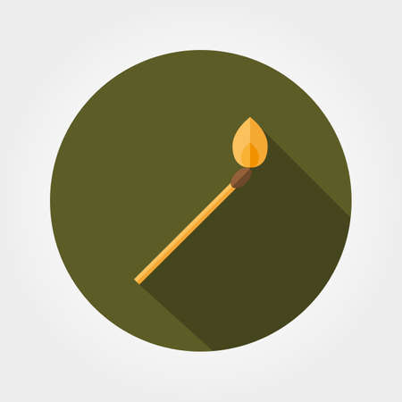 Burning lucifer match. Icon for web and mobile application. Vector illustration of a button with a long shadow. Flat design style. Ilustração