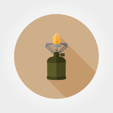 travel burner: Camping stove. Icon for web and mobile application. Vector illustration of a button with a long shadow. Flat design style.
