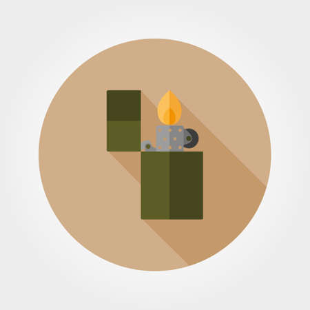 open flame: Lighter. Icon for web and mobile application. Vector illustration of a button with a long shadow. Flat design style. Illustration