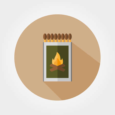 shadow match: Match box. Icon for web and mobile application. Vector illustration of a button with a long shadow. Flat design style.