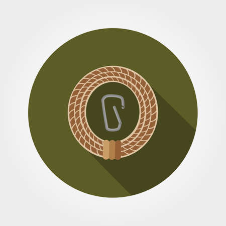 carabineer: Rope with carabiner. Icon for web and mobile application. Vector illustration of a button with a long shadow. Flat design style.