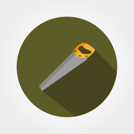 toothed: Saw. Icon for web and mobile application. Vector illustration of a button with a long shadow. Flat design style.