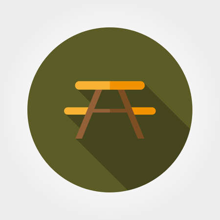 soiree: Camping table. Icon for web and mobile application. Vector illustration of a button with a long shadow. Flat design style.