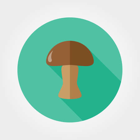 button mushroom: Mushroom. Icon for web and mobile application. illustration of a button with a long shadow. Flat design style.