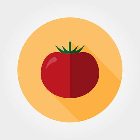 Tomato. Icon for web and mobile application. illustration of a button with a long shadow. Flat design style.