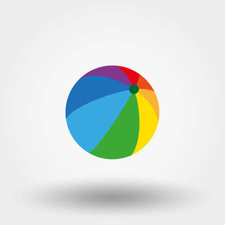 beachball: Ball toy. Icon for web and mobile application. Vector illustration on a white background. Flat design style. Illustration