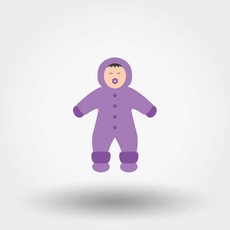 ponytails: Child in winter overalls. Icon for web and mobile application. Vector illustration on a white background. Flat design style. Illustration