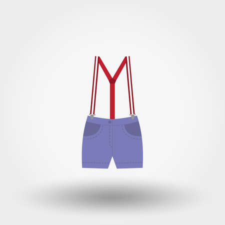 jump for joy: Shorts with suspenders. Icon for web and mobile application. Vector illustration on a white background. Flat design style.