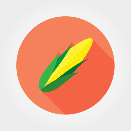 sweetcorn: Corn. Icon for web and mobile application. Vector illustration on a button with a long shadow. Flat design style.