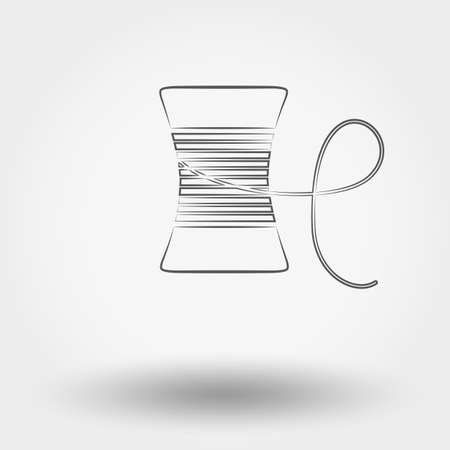 spool: Simple line web icon Spool of thread. Vector illustration on a white background. Doodle, cartoon style.