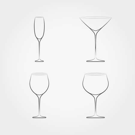 stemware: Simple set of classic stemware. For white and red wines, champagne and vermouth. Vector illustration on white background. Illustration