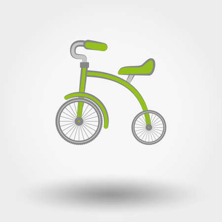 tricycle: Kids Tricycle flat icon. Vector illustration on a white background. Doodle, cartoon style.