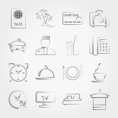 hotel service: Simple line web icons set Hotel ,service and vacation. Vector illustration on a white background. Doodle, cartoon style.