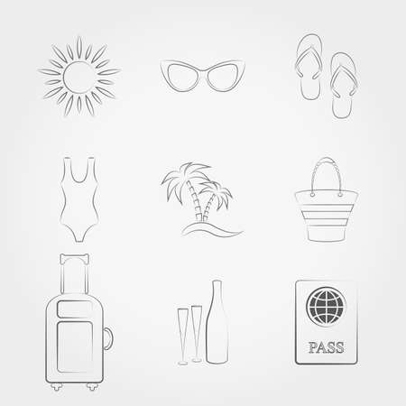 spanking: Simple line web icons set Summer travel and vacation. Vector illustration on a white background. Doodle, cartoon style. Illustration