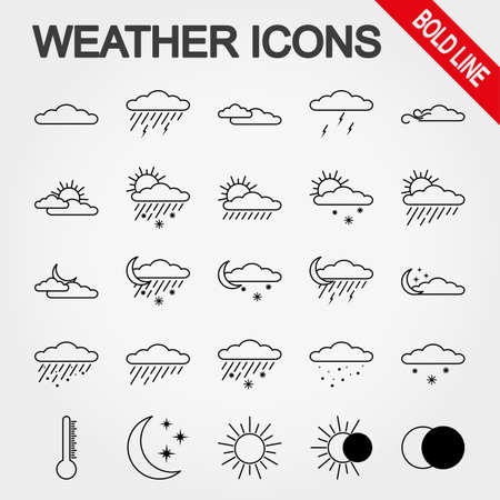partly sunny: Weather bold line icon set for web and mobile application. Vector illustration on a white background.