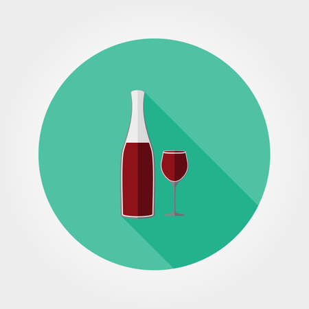 red wine pouring: Wine bottle and wine glass. Icon for web and mobile application. Vector illustration of a button with a long shadow. Flat design style.