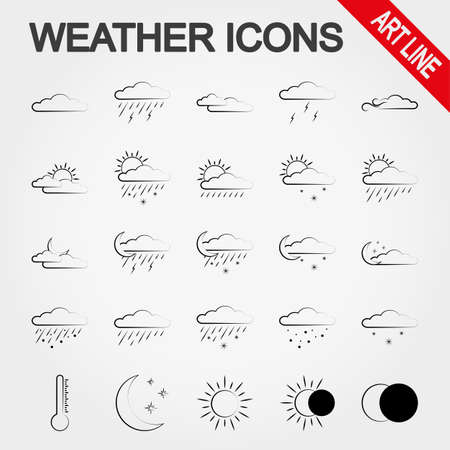 partly sunny: Weather art line icon set for web and mobile application. Vector illustration on a white background.