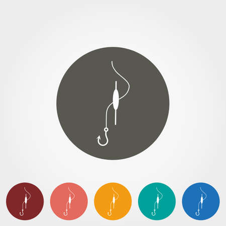 fishhook: Float fishing with a hook. Icon for web and mobile application. Vector illustration on a button. Flat design style.