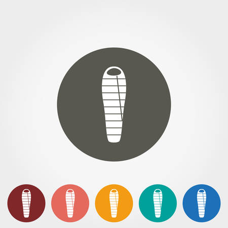 sleeping bags: Camping sleeping bag. Icon for web and mobile application. Vector illustration on a button. Flat design style.